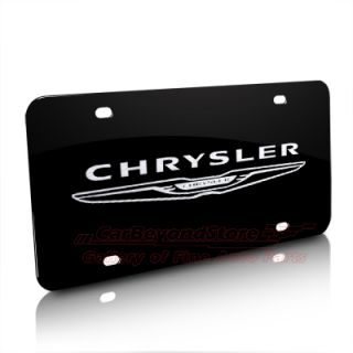 Chrysler New Logo Laser Etched Black License Plate, Licensed Product