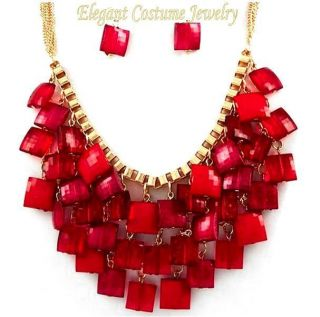 Sassy Red Gold Square Charm Chunky Necklace Set Costume Jewelry