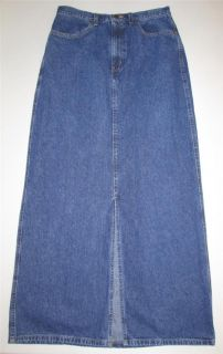 EDDIE BAUER Long Modest Blue Jean Denim Winter Skirt Front Slit Womens