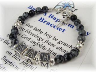 Baby Boy Baptism Name Bracelet Personalized Snowflake O