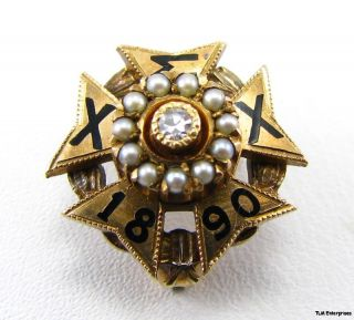 Chi Sigma Chi High School Fraternity Diamond Pearl Pin