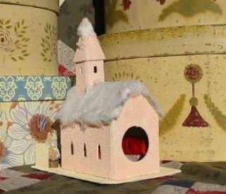 Easter Christmas Tiny Peach Church Cody Foster House Paper Mache Putz