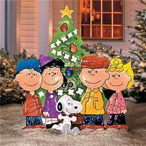 Outdoor Peanuts Gang Christmas Tree Metal Yard Art Display Holiday