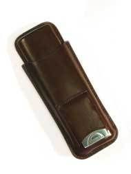 Brown Leather Cigar Case Holder 2 Cigars w Cutter
