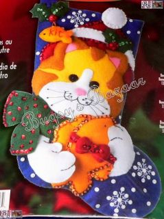 Bucilla Kitten Cat w Fish Felt Christmas Stocking Kit