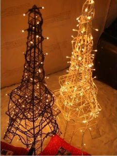 Eiffel Tower Christmas Tree Wire Small Metal Ornament Display Electric