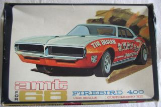 Old Vintage Classic Car Plastic Model Kit AMT Firebird 400 w Box 1968