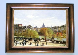 Monet Le Quai Du Louvre Brown Framed Giclee Canvas Art M