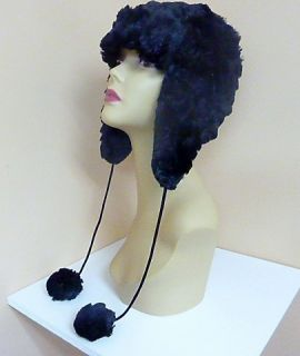 New Claire's Womens Winter Trapper Faux Fur Hat Earflap Pom Black