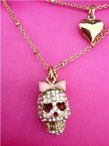 Auth Betsey Johnson Crystal Skull with Pink Bow Double Chain Necklace