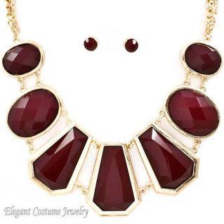 Wine 7 Charm Gold Frame Chunky Necklace Set Elegant Costume Jewelry