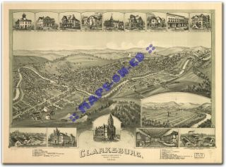 1898 Clarksburg West Virginia Harrison County WV Map CD