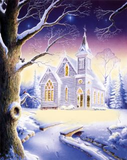 Christmas Snow Country Church Chapel Matted Hand Signed by Artist