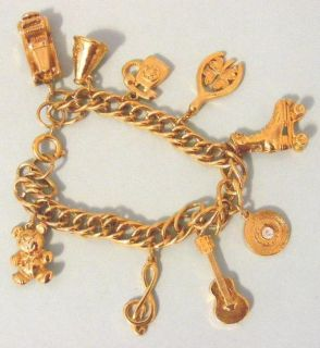 Vintage Goldtone Charm Bracelet with Charms Teenage 50s Style