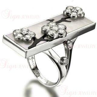 Van Cleef Arpels Miroir Des Eaux 18K Gold Onyx Diamond Flower Ring