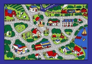 Gray Street Map 7x10 Area Rug Carpet Play Mat Great 4 Classroom