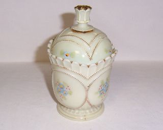 Northwood Beaded Circle Custard Glass Sugar and Lid Cover with Floral