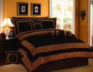 New Chocolate Brown Bedding Suede Comforter Set Queen King Twin Full