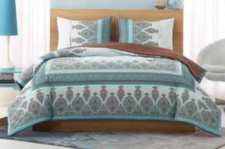 Blue Chocolate Brown Henna Dorm Teen Girls Bedding
