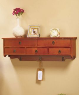 Walnut Wall Shelf with Drawers and Hooks Bath or Entryway Storage