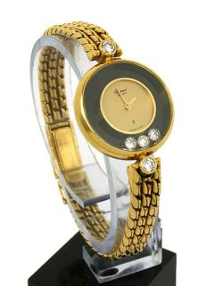 is a designer chopard happy diamonds ladies wrist watch the case is