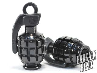 New Custom Motorcycle Chopper Bike Tire Black Grenade Style Tyre Valve