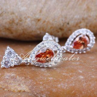 Pear Brown Citrine Stone Lady Fashion Earrings Dangle Piercing Pin