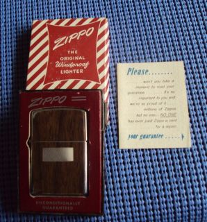 Vintage Zippo Lighter w Original Box Instructions Unique Wood Grain