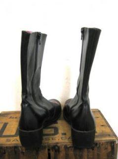 CAMPER Womens Rare & Unique Black Leather Wedge Zip Boots sz 38