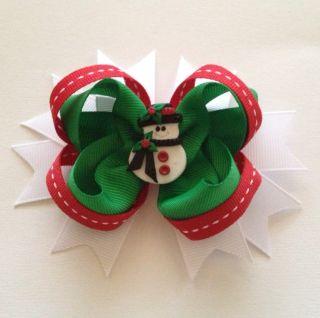 Small Christmas Hair Bow with Snowman Clay Center