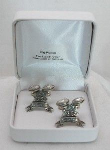 Clay Pigeon Shooting Cufflinks in Fine English Pewter