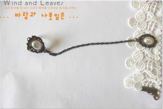 Korea Fashion Retro Rhinestone Ring Link Lace Cloth Bracelet