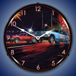Off GTO Nova Car Race Bruce Kaiser Art Backlit Lighted Wall Clock NEW