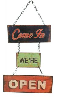 Three Piece Open Closed Reversible Metal Sign Business Storefront
