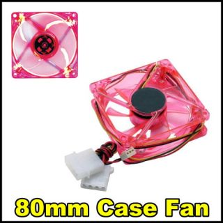 Product 1 PC Brand New 80mm / 8 cm Red 4 LED LEDs Case Fan 3 Pin/ 4