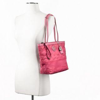 Coach Signature Striped Nylon Tote Bag Purse Pink Red F17668 Logo New