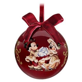 Victorian Mickey and Minnie Decoupage Bulb Christmas Ornament
