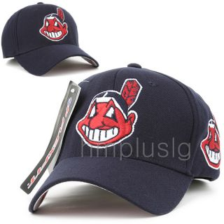 Cleveland Indians Flex Fit Baseball Cap Hat MB Navy Blue