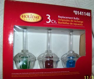 Sets of three (3) COLOR Christmas Tree Bubble Light Replacement Bulbs