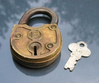 Old Vintage Antique Lock E Eagle Solid Brass Cased Padlock w Key