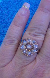 EDWARDIAN ROSE(PINK) GOLD ROSE CUT DIAMOND CLUSTER RING ~