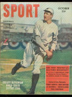 Sport Magazine Oct 1949 Christy Mathewson World Series VF