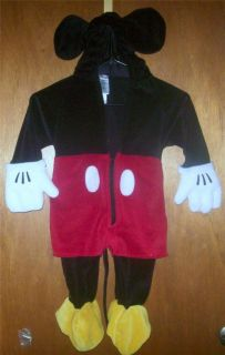 MICKEY MOUSE Halloween Costume 1pc Velour Costume 6 12MO