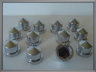 12 Chrome 9/16 Pointed Nut Caps & Bolt Covers for Custom Car Truck
