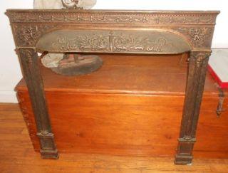 Antique Cast Iron Metal Fireplace Surround Cherubs Woman Architectural