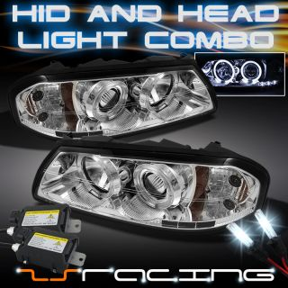 00 05 Chevy Impala Dual Halo Projector LED Chrome Headlights Slim
