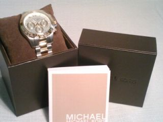 New Michael Kors Two Tone Stainless / Gold Layton Chrono Watch MK5455