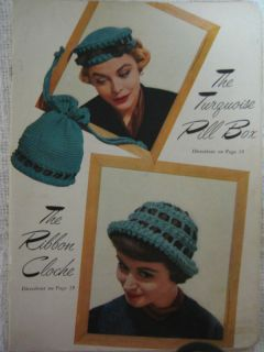 Vtg Crochet Knit Pill Box Hat Cloche Pattern Booklet