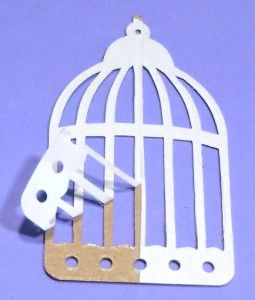 Sizzix Tim Holtz Caged Bird Die Cuts Raw White Self Adhesive Chipboard