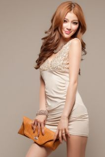 Sexy Girls Beige evening night club party dresses Junior summer hot